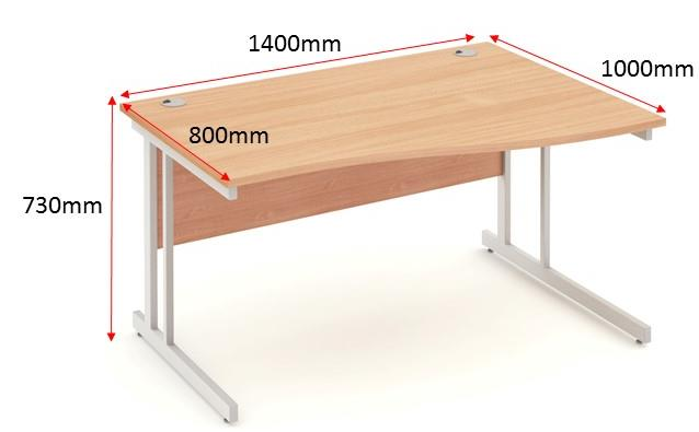 Image for Trexus Wave Desk Right Hand Cantilever Leg 1400mm Beech
