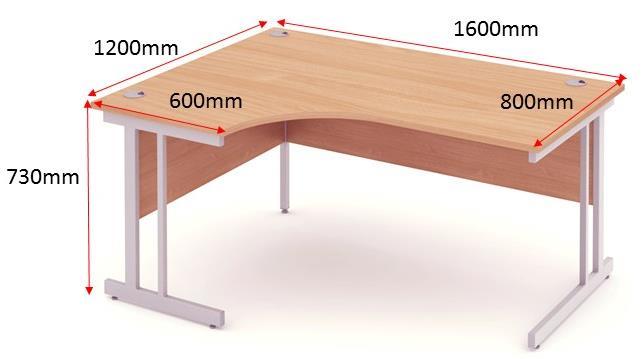 Trexus Corner Desk Left Hand Cantilever Leg 1600/1200mm Beech