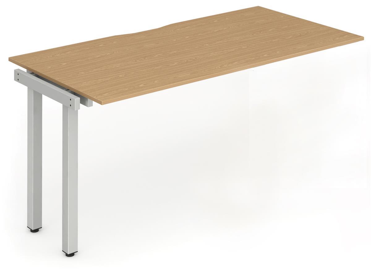Image for Trexus Bench Desk Single Extension Lockable Sliding Top Silver Leg Frame 1200mm Oak