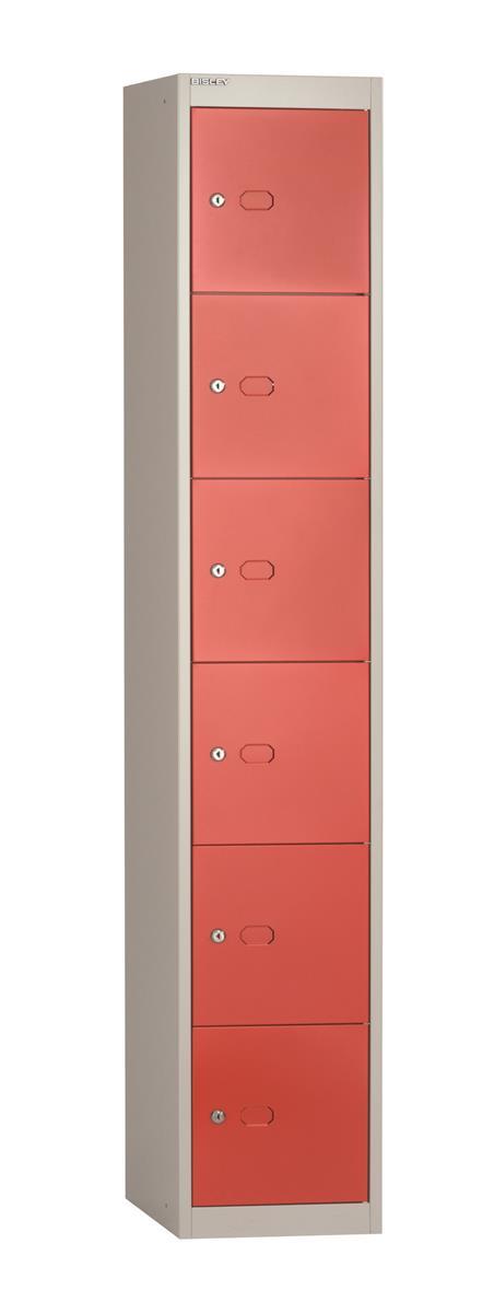 Image for Bisley Steel Locker 305 Six Door Grey/Red