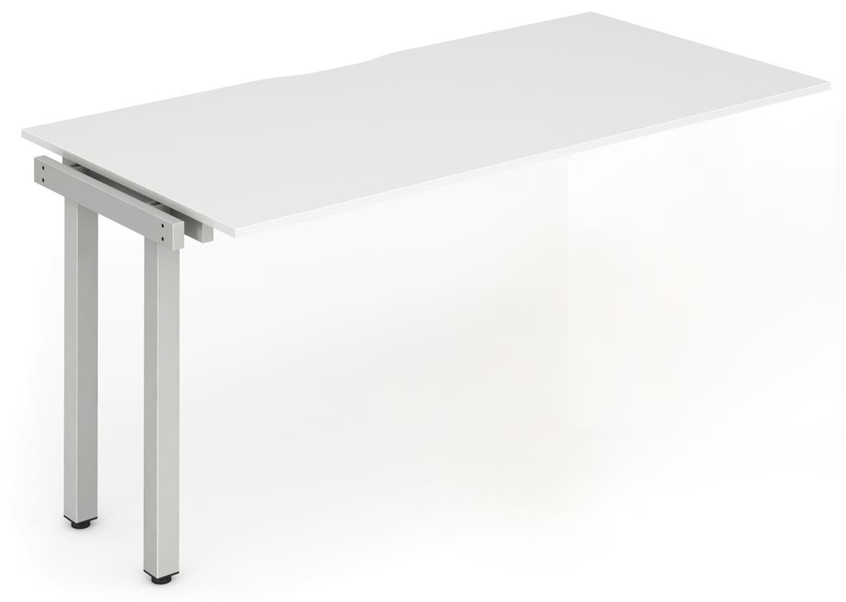Image for Trexus Bench Desk Single Extension Lockable Sliding Top Silver Leg Frame 1200mm White