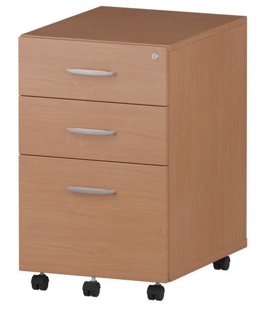 Trexus Tall Under Desk Mobile Pedestal W440xD550xH695mm 3 Drawers Beech