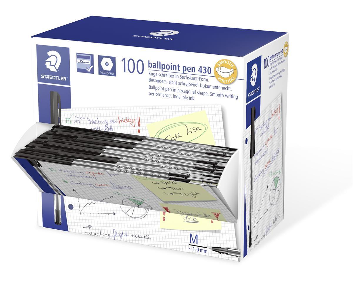 Image for Staedtler 430 Stick Ball Pen Medium 1.0mm Tip 0.35mm Line Black Ref 430M-9 [Pack 100]