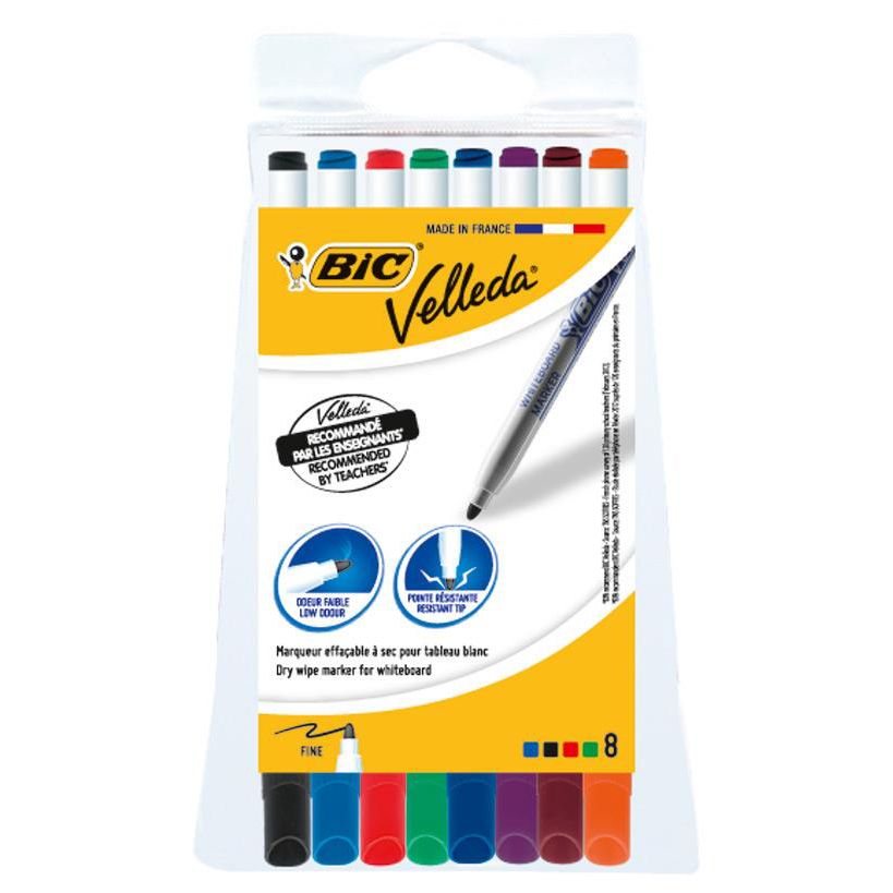 Bic Velleda Marker Whiteboard Dry-wipe 1721 Fine Bullet Tip 1.5mm Line Assorted Ref 1199005728 Pack 8