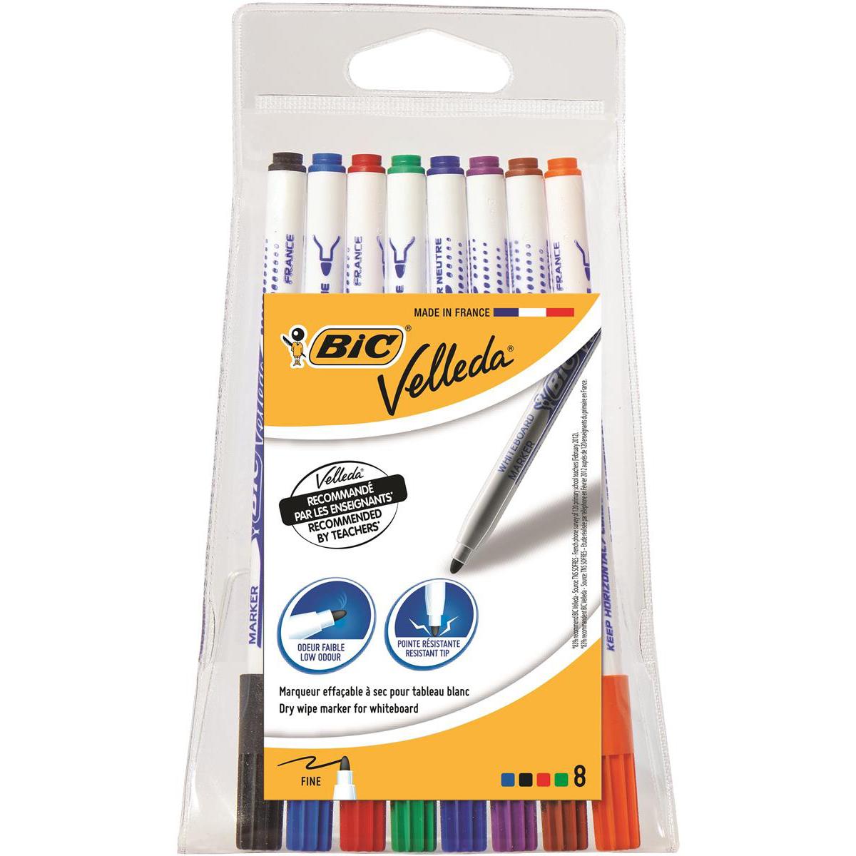 Bic Velleda Marker Whiteboard Dry-wipe 1721 Fine Bullet Tip 1.5mm Line Assorted Ref 1199005728 Pack 8