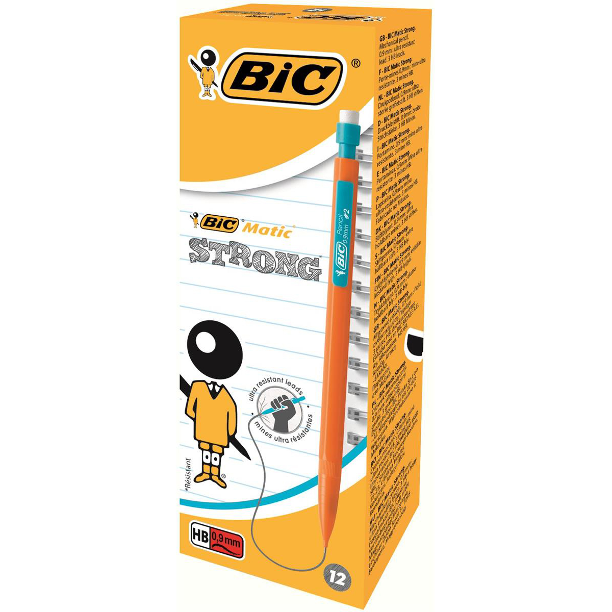 Bic Matic Strong Mechanical Pencil Built-in Eraser 3 x HB 0.9mm Ultra Solid Lead Ref 892271 Pack 12