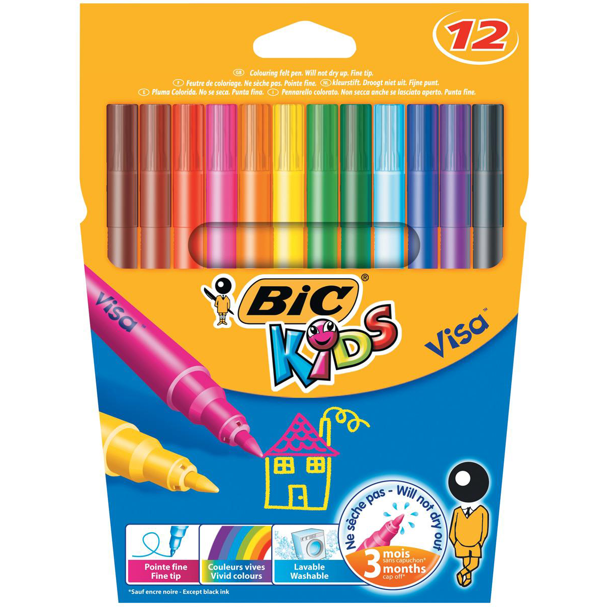 Colouring Pens Bic Kids Visa Felt Tip Colouring Pens Washable Ink Fine Tip Wallet Asstd Cols Ref 888695 [Pack 12]