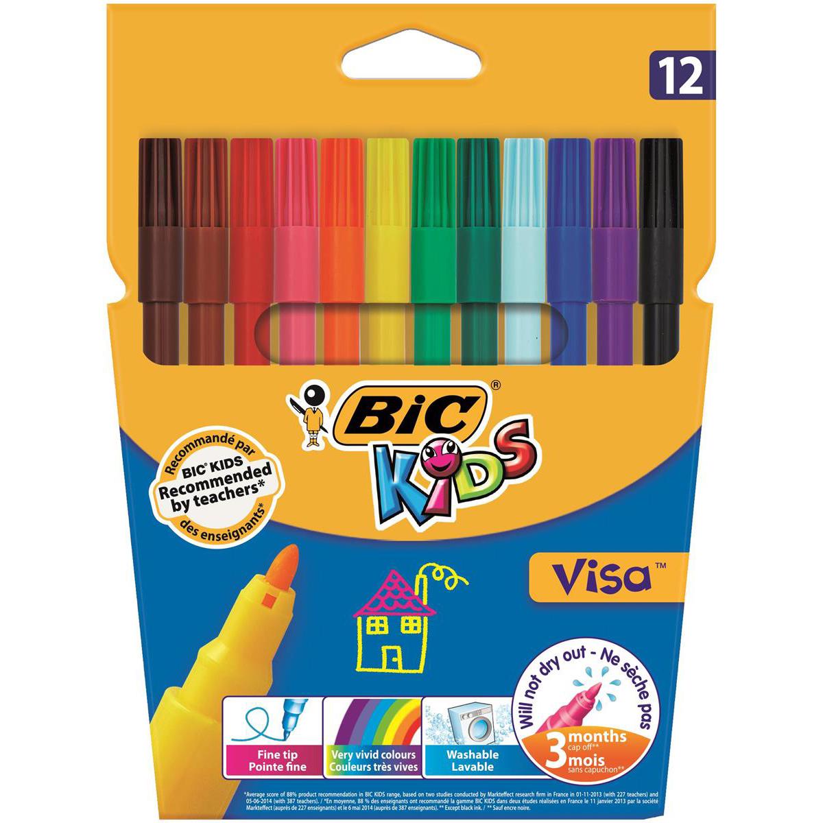 Bic Kids Visa Felt Tip Colouring Pens Washable Ink Fine Tip Wallet Asstd Cols Ref 888695 Pack 12