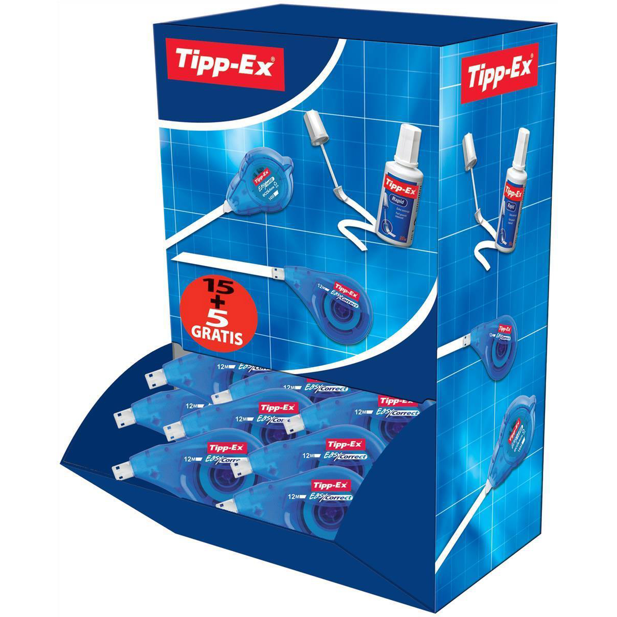 Correction Tape Tipp-Ex Easy-correct Correction Tape Roller 4.2mmx12m Ref 895951 [Pack 15 & 5]