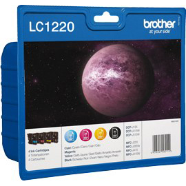 Brother Inkjet Cartridge Value Pack Page Life 300pp Black/Cyan/Magenta/Yellow Ref LC1220VALBP Pack 4