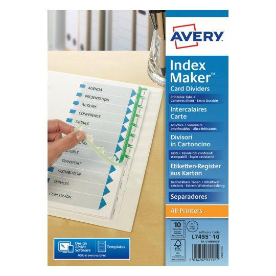 Indexes Avery Indexmaker Dividers A4 Plus 10 Part Extra Wide White Ref 01999001 L7455-10