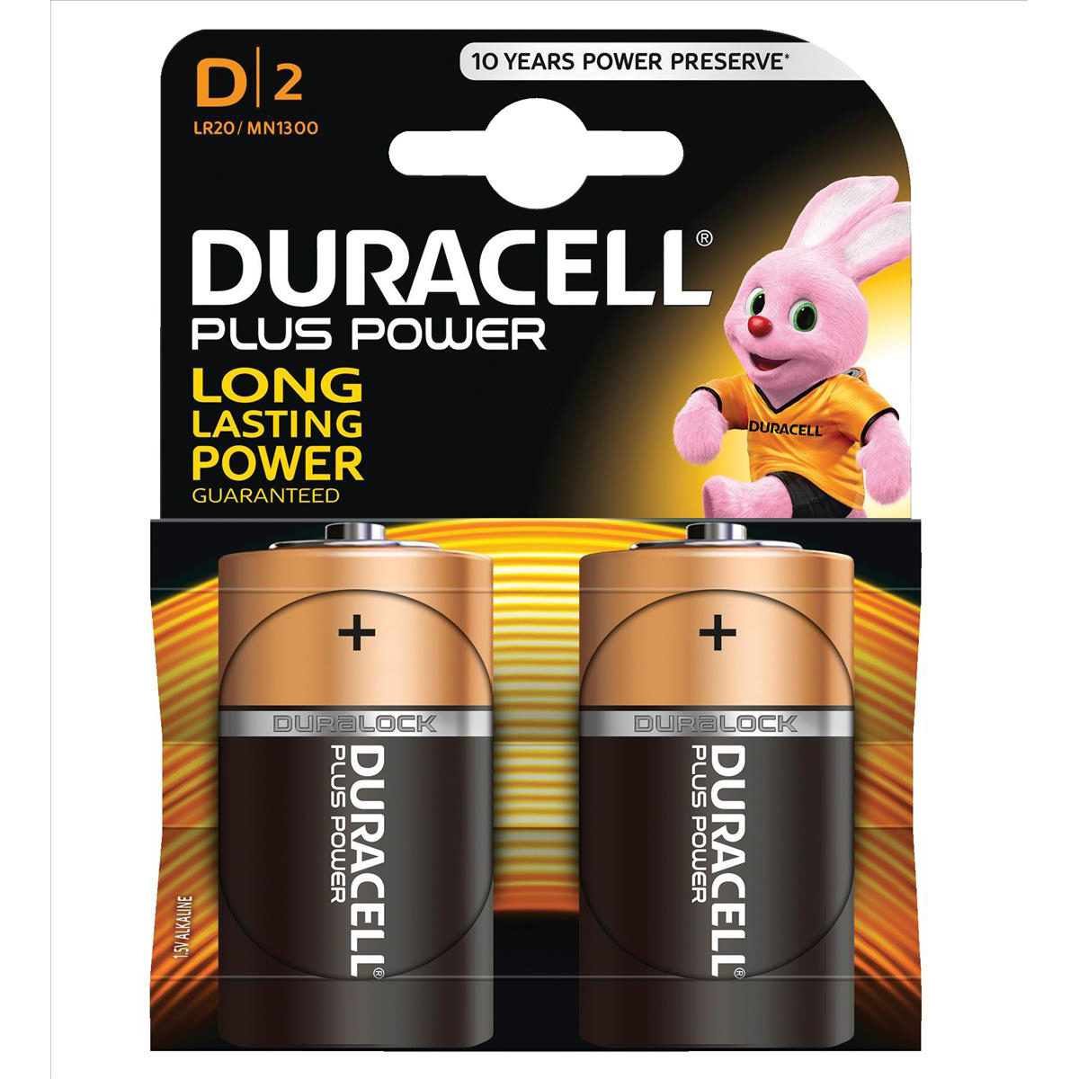 Duracell Plus Power Battery Alkaline 1.5V D Ref 81275443 [Pack 2]