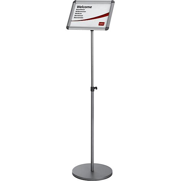 Image for Nobo Clip Frame Display Stand for A4 Documents Adjustable Height 950-1470mm Silver Grey Ref 1902383