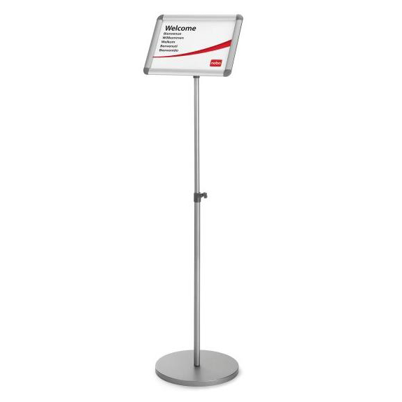 Nobo Snap Frame Display Stand for A3 Documents Adjustable Height 950-1470mm Silver Grey Ref 1902384
