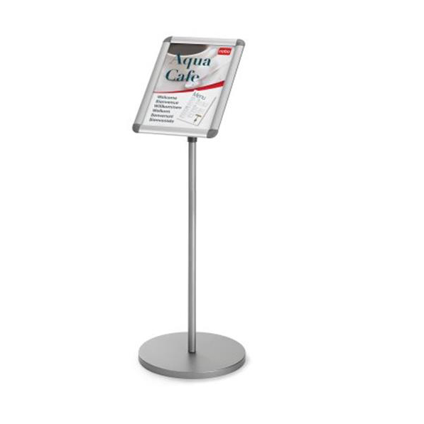 Nobo Snap Frame Display Stand for A3 Documents Adjustable Height 950-1470mm Silver Ref 1902384