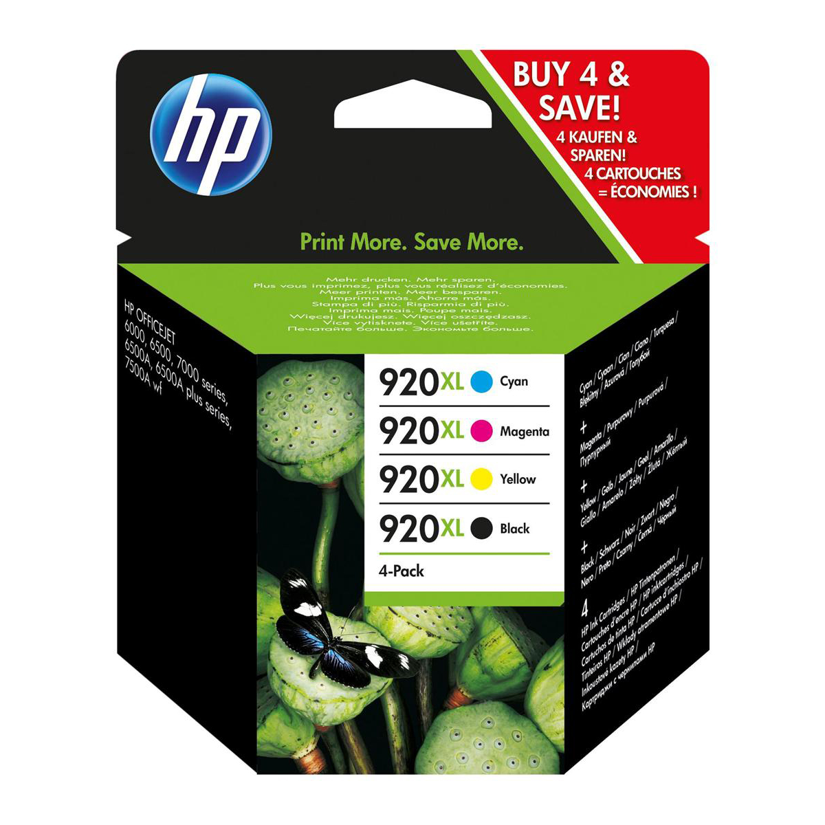 Hewlett Packard [HP] No.920XL IJCart HYBlk PageLife1200pp49ml/Cyan/Mag/Yel 700pp 6ml Ref C2N92AE [Pack 4]