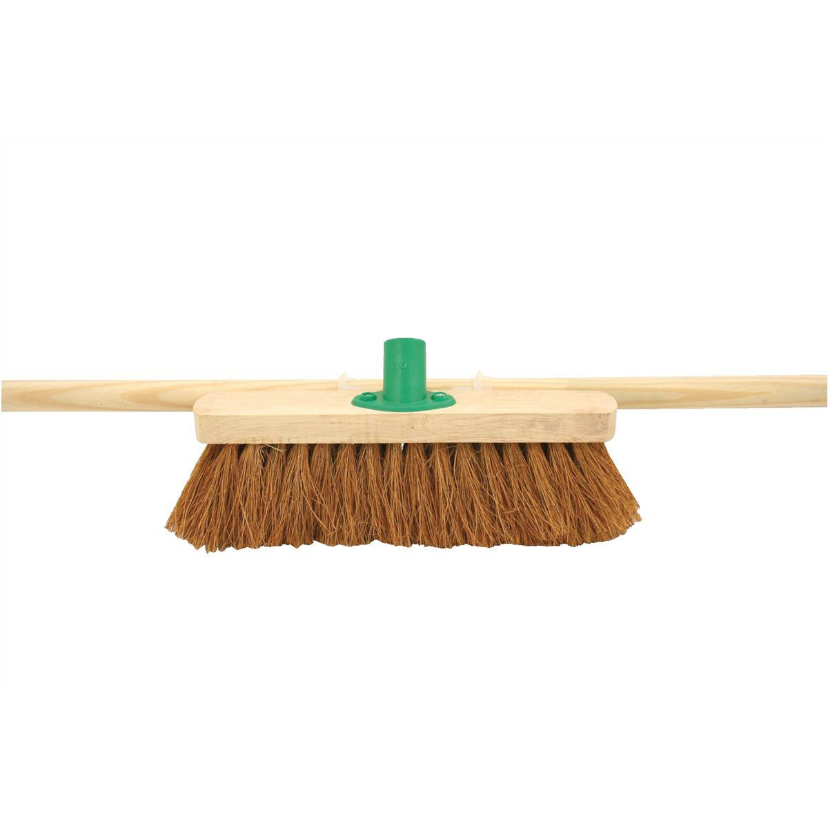 Mops & Buckets Bentley 12inch Soft Coco Broom Head with Handle & Push fit Plastic Bracket Ref SPC/F01BKT/C4