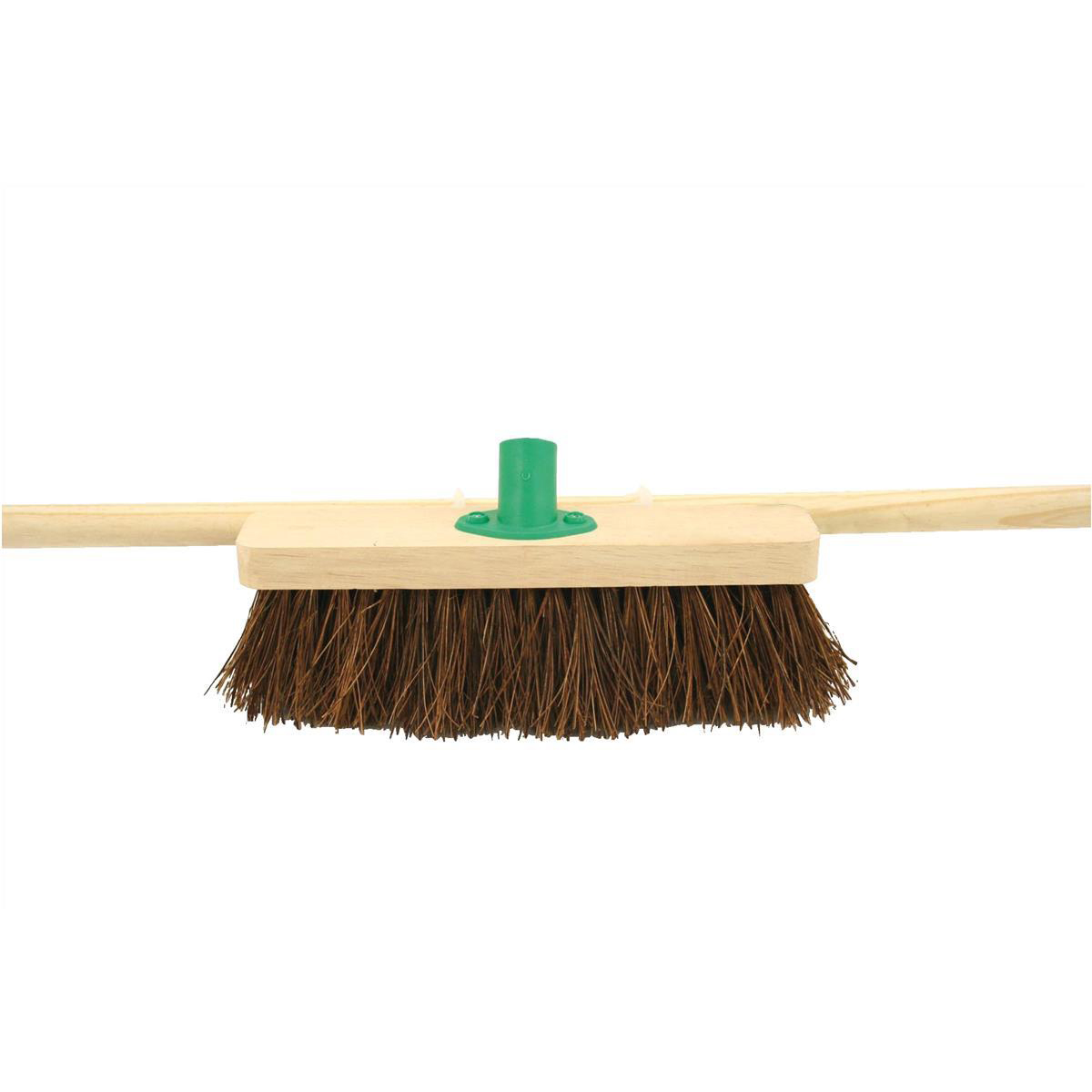 Mops & Buckets Bentley 12inch Stiff Bassine Broom Head with Handle & Push fit Plastic Bracket Ref SPC/F10BKT/C4