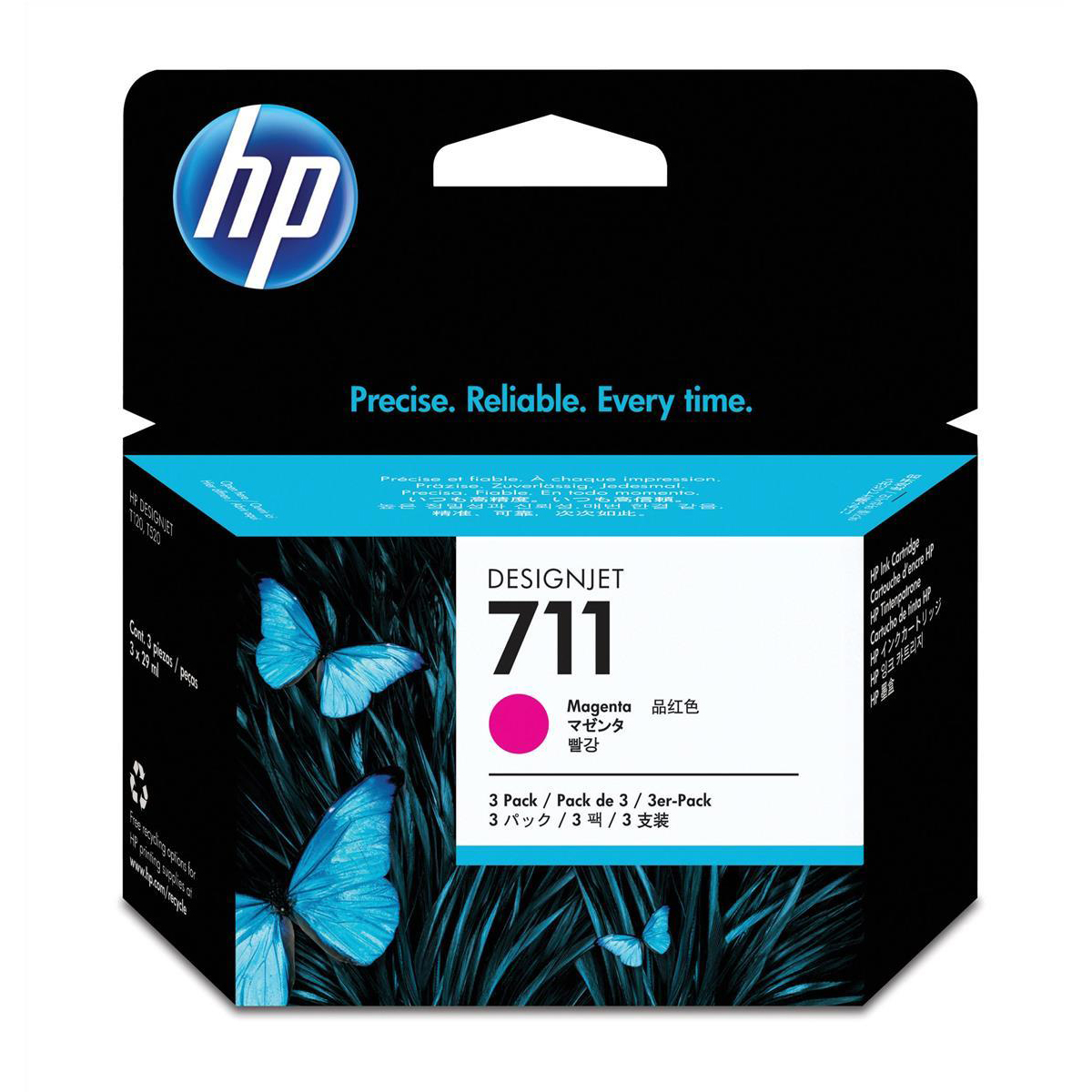 Hewlett Packard [HP] No.711 Inkjet Cartridge 29ml Magenta Ref CZ135A [Pack 3]
