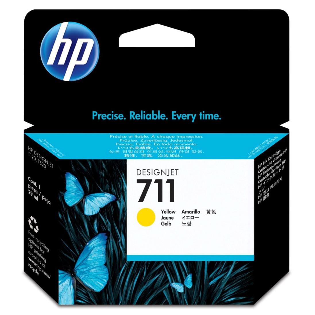 Hewlett Packard [HP] No.711 Inkjet Cartridge 29ml Yellow Ref CZ136A [Pack 3]