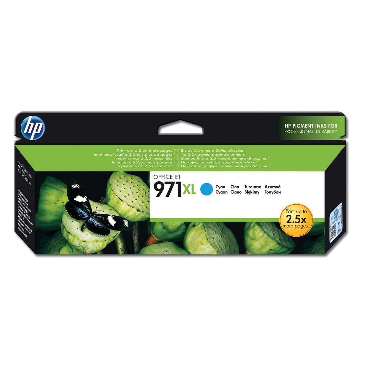 Hewlett Packard [HP] No.971XL Inkjet Cartridge High Yield Page Life 6600pp 86.5ml Cyan Ref CN626AE