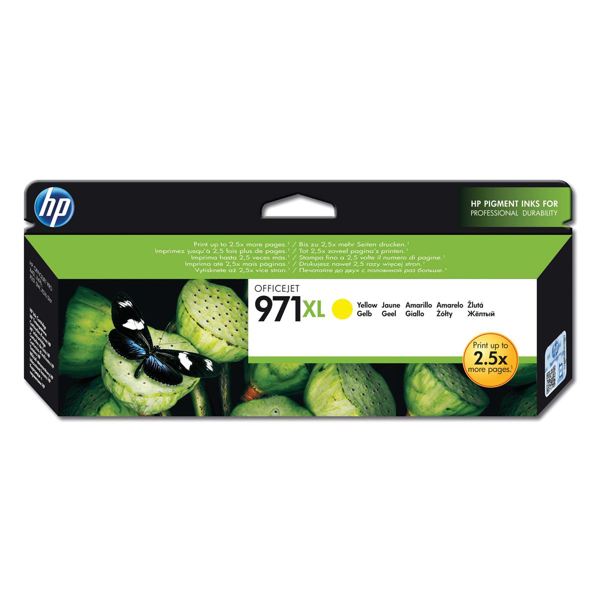 Hewlett Packard [HP] No. 971XL Inkjet Cartridge Page Life 6600pp Yellow Ref CN628AE