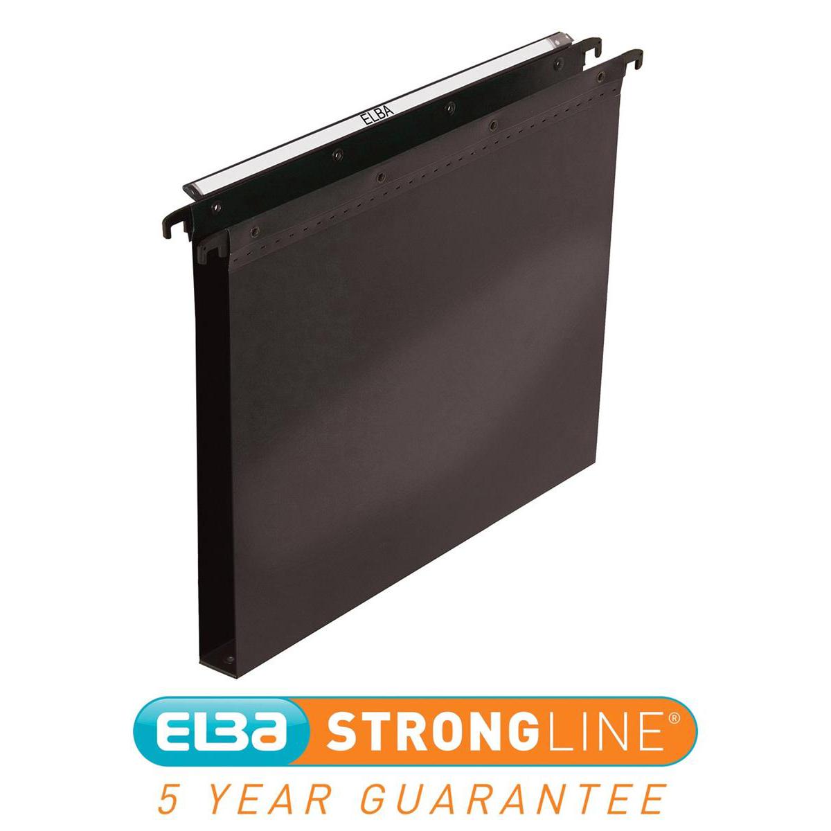 Elba Ultimate Linking Suspension File Polypropylene 30mm Wide-base Foolscap Black Ref 100330372 [Pack 25]