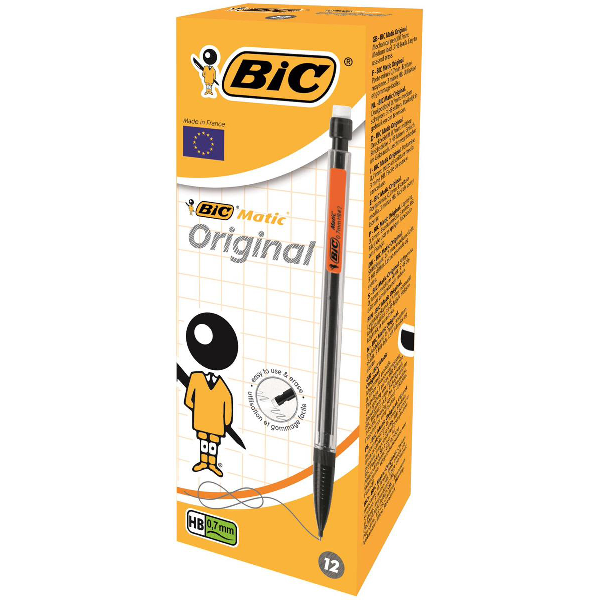 Bic Matic Classic Mechanical Pencil with Eraser 3 x HB 0.7mm Lead Asstd Barrel Cols Ref 820959 Pack 12