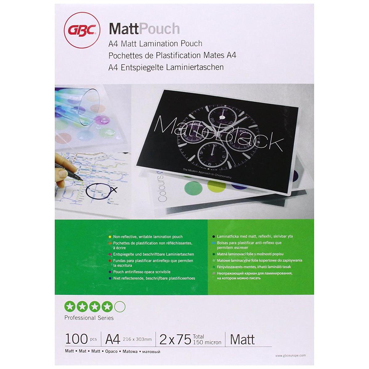 GBC Laminating Pouches Matt 150 Micron for A4 Ref 3747240 [Pack 100]