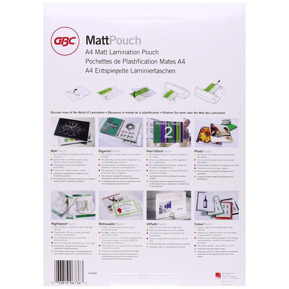 GBC Laminating Pouches Matt 150 Micron for A4 Ref 3747240 Pack 100