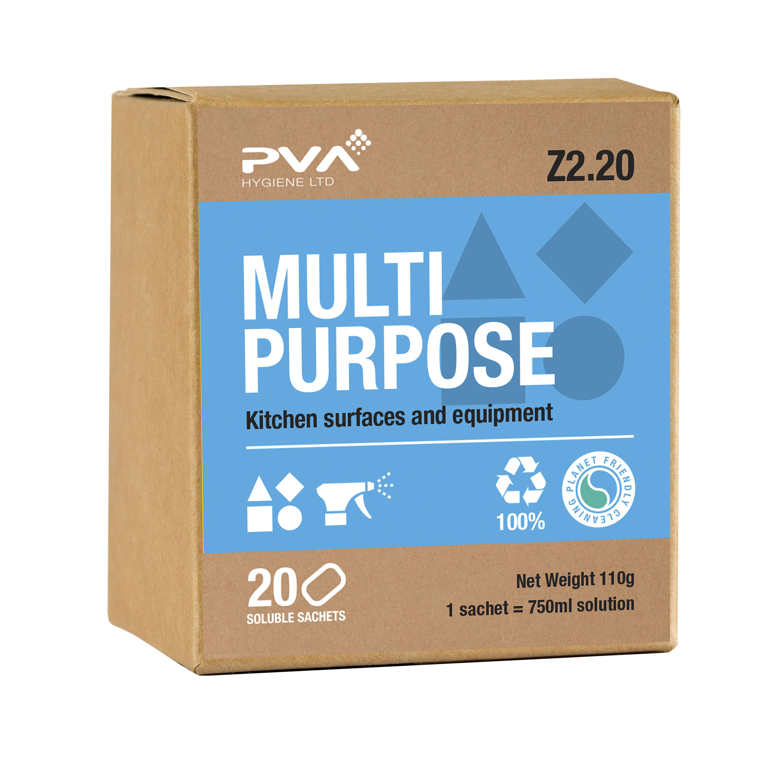 Multipurpose Cleaning PVA Multi-purpose Kitchen Surface & Equipment Sachets Ref 4018002 [Pack 20]