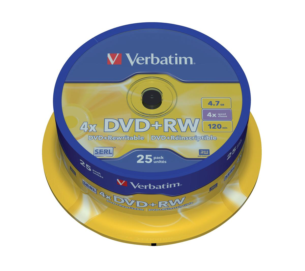 Image for Verbatim DVD+RW Rewritable Disk Spindle 1x-4x Speed 120min 4.7Gb Ref 43489 [Pack 25]