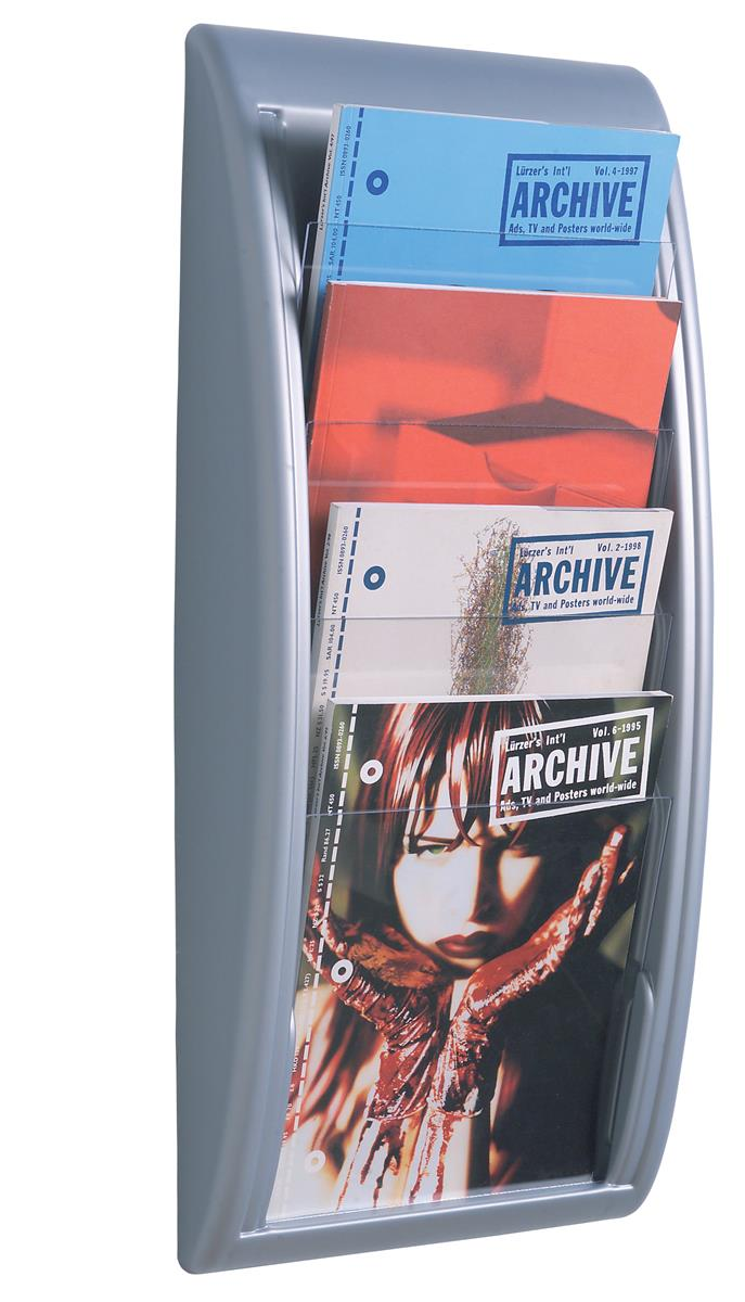 Image for Fast Paper Literature Holder Wall Mount 4 x A4 Pockets Aluminium Silver Ref 4061.35
