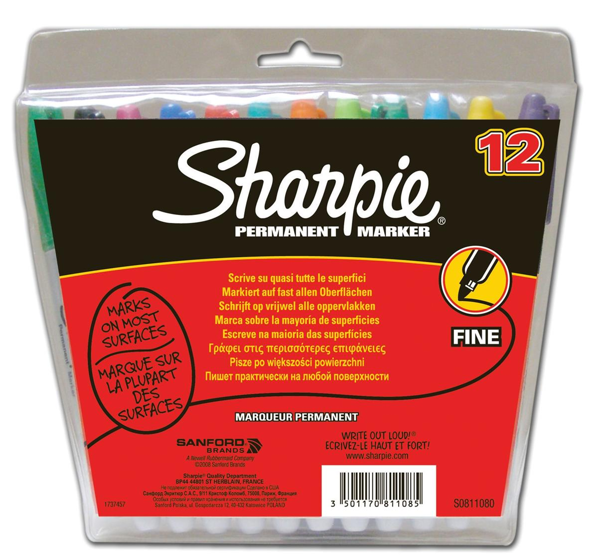 Sharpie Permanent Marker Fine Tip 1.0mm Line Assorted Ref S0811070 [Wallet 12]