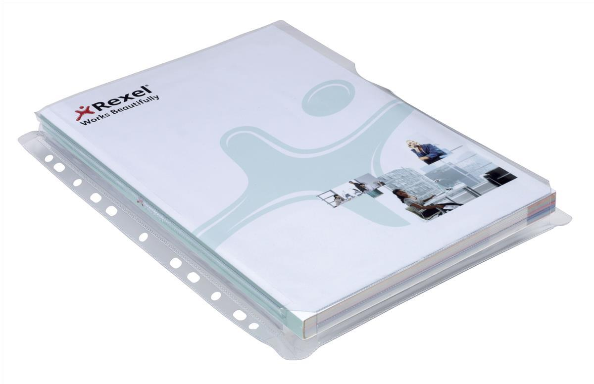 Image for Rexel Nyrex Pocket Punched 4-Hole Full-size Extra Capacity 250 Sheets A4 Ref 2001016 [Pack 5]