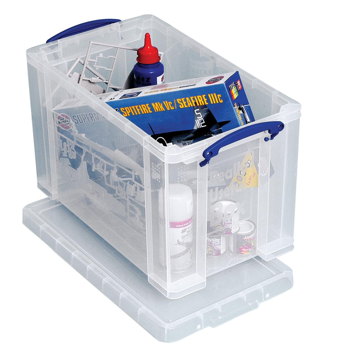 Image for Really Useful Storage Box Plastic Lightweight Robust Stackable 24 Litre W270xD464xH282mm Clear Ref 24C