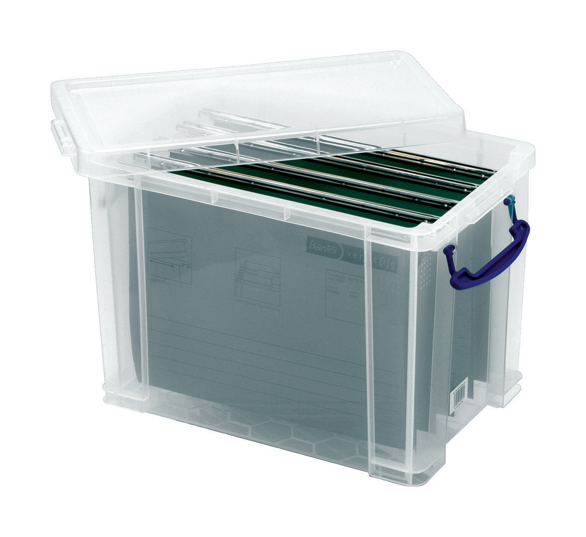 Image for Really Useful Filing Box Plastic with 10 suspension files A4 19 Litre W290xD255xH395mm Ref 19C&10susp