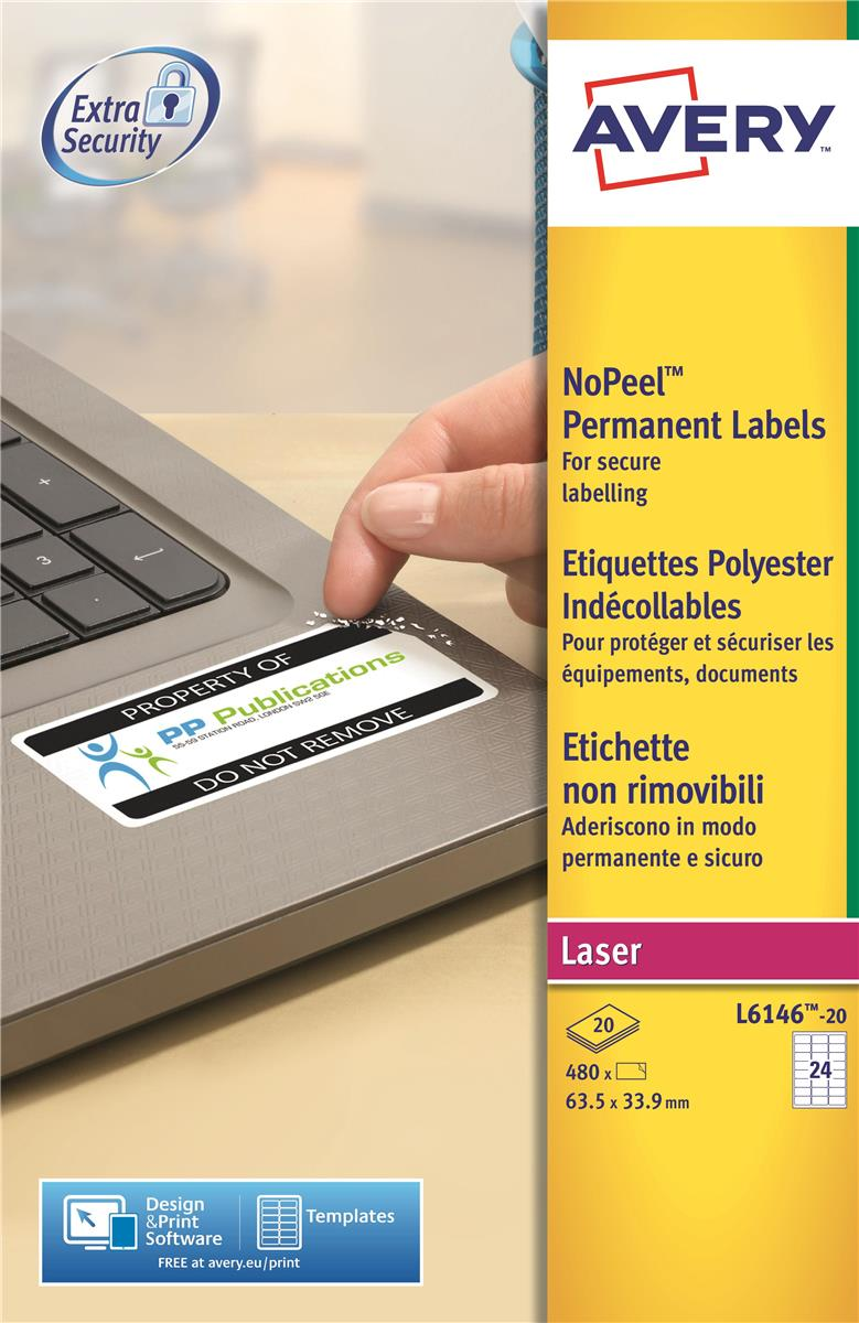 Image for Avery NoPeel Labels Tamper-proof Durable 24 per Sheet 63.5x33.9mm White Ref L6146-20 [480 Labels]