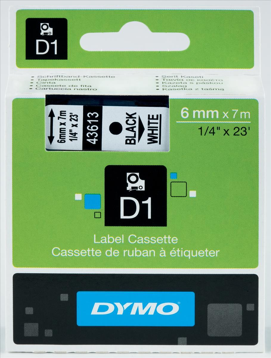 Image for Dymo D1 Tape for Electronic Labelmakers 6mmx7m Black on White Ref 43613 S0720780
