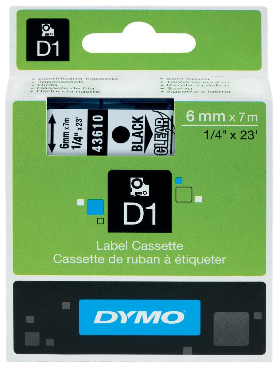 Image for Dymo D1 Tape for Electronic Labelmakers 6mmx7m Black on Clear Ref 43610 S0720770
