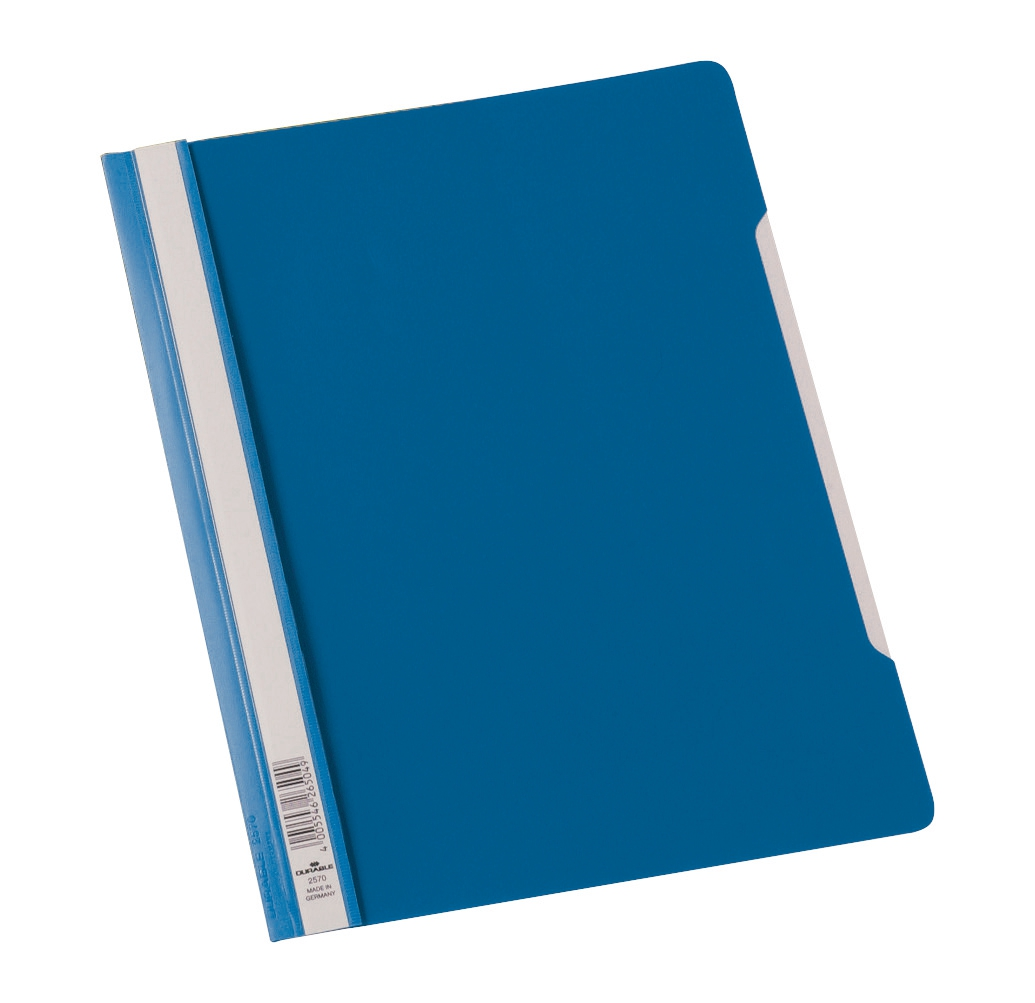 Image for Durable Clear View Folder Plastic with Index Strip Extra Wide A4 Blue Ref 257006 [Pack 50]