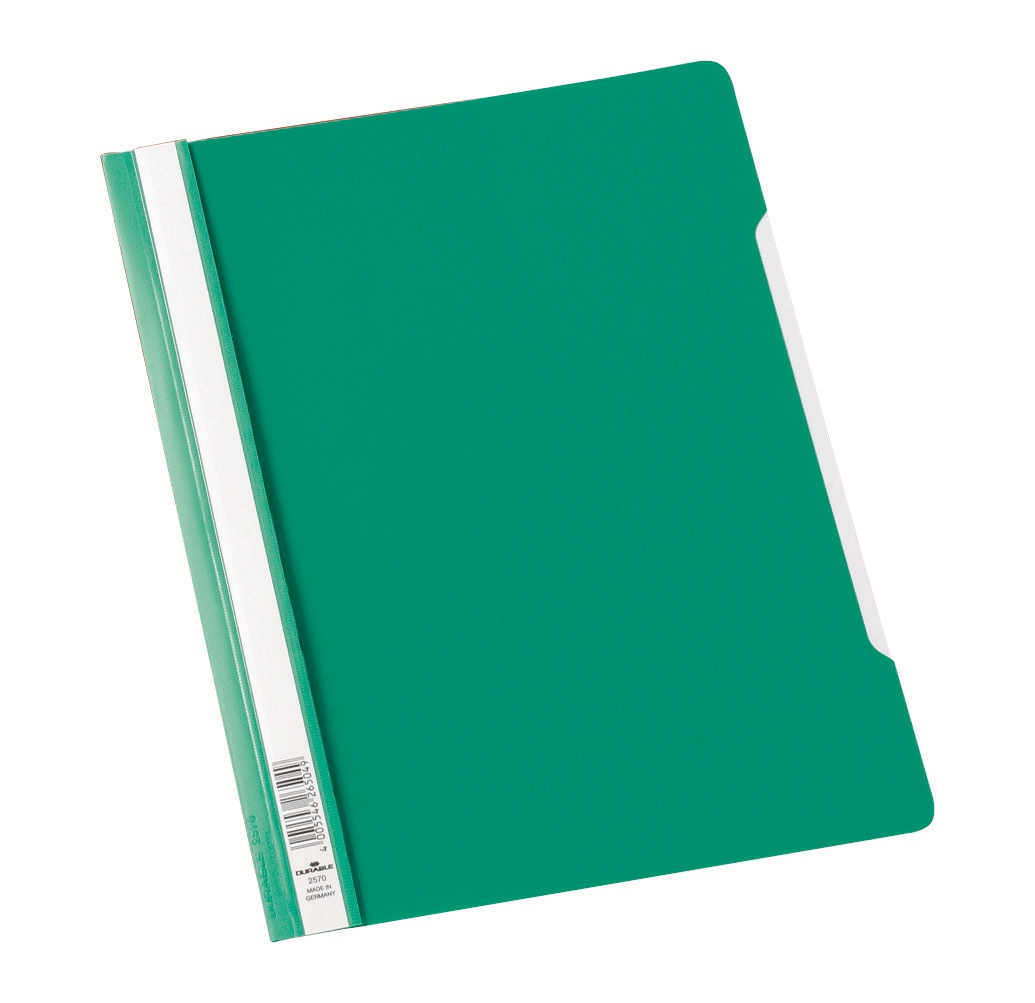 Image for Durable Clear View Folder Plastic with Index Strip Extra Wide A4 Green Ref 257005 [Pack 50]