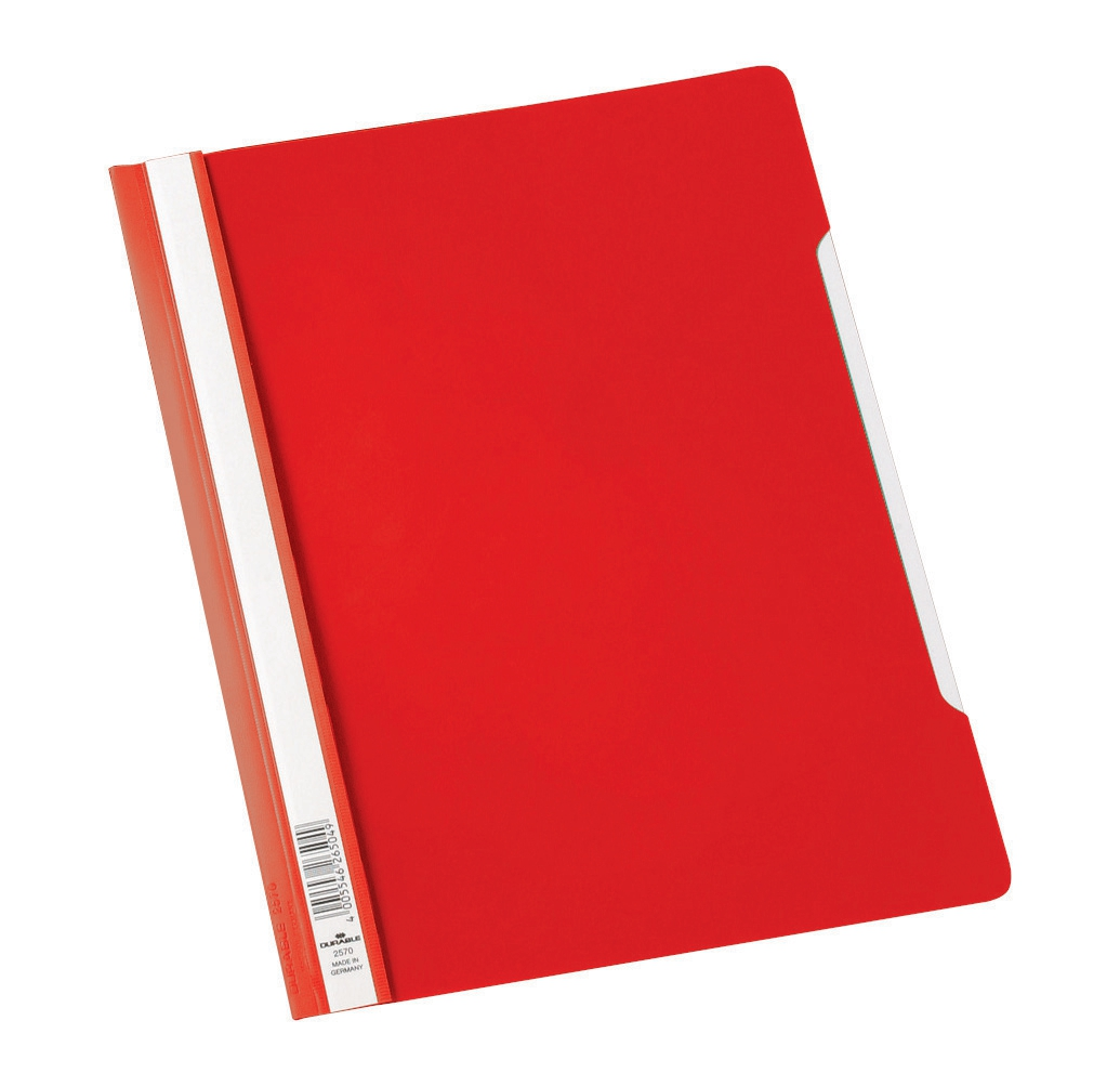 Image for Durable Clear View Folder Plastic with Index Strip Extra Wide A4 Red Ref 257003 [Pack 50]