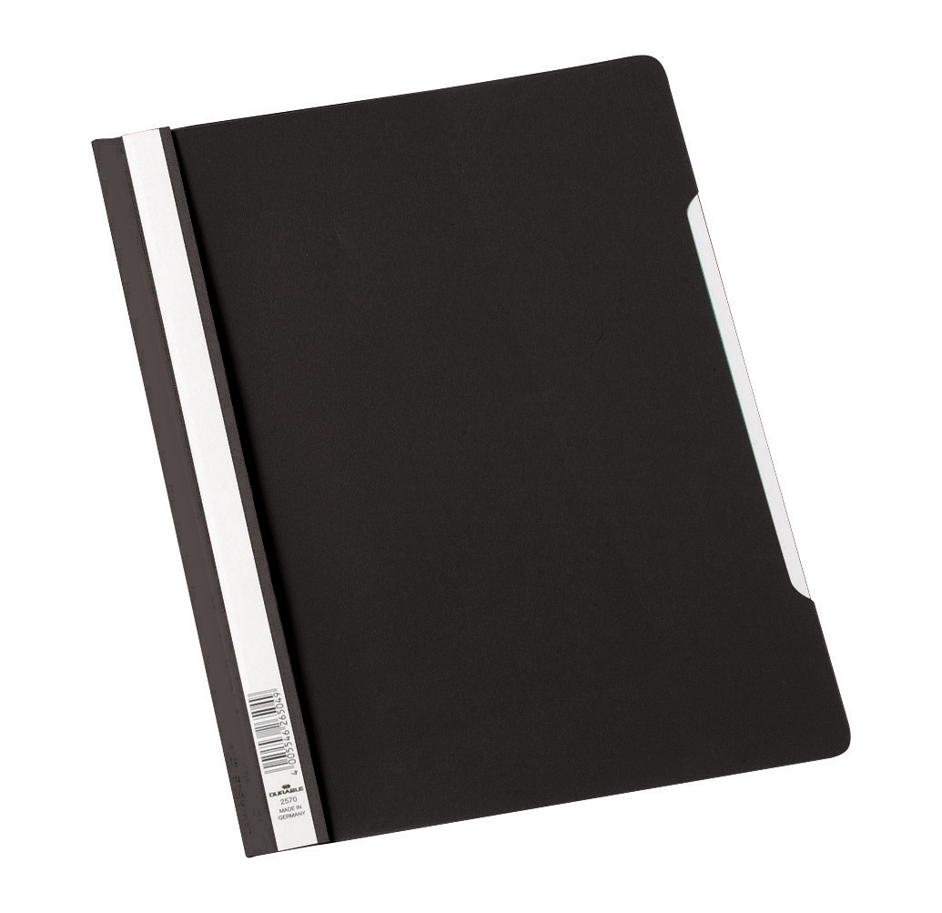 Image for Durable Clear View Folder Plastic with Index Strip Extra Wide A4 Black Ref 257001 [Pack 50]