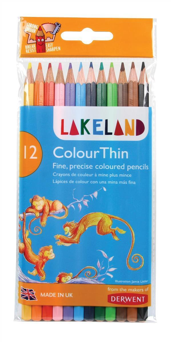 Image for Lakeland Colourthin Colouring Pencils Hexagonal Barrel Hard-wearing Assorted Ref 0700077 [Pack 12]