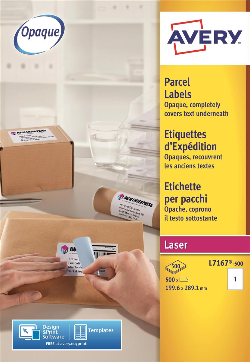 Image for Avery Addressing Labels Laser Jam-free 1 per Sheet 199.6x289.1mm White Ref L7167-500 [500 Labels]