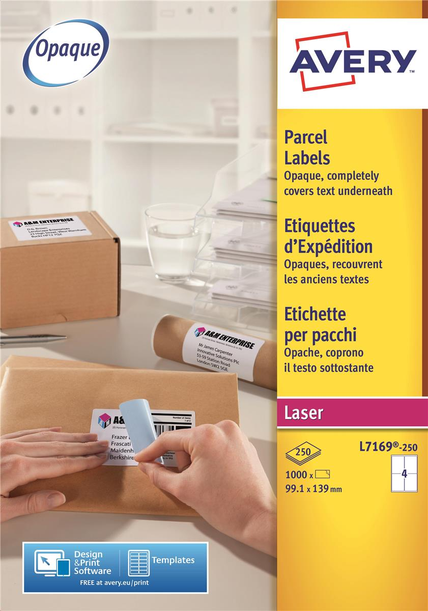 Image for Avery Addressing Labels Laser Jam-free 4 per Sheet 139x99.1mm White Ref L7169-250 [1000 Labels]