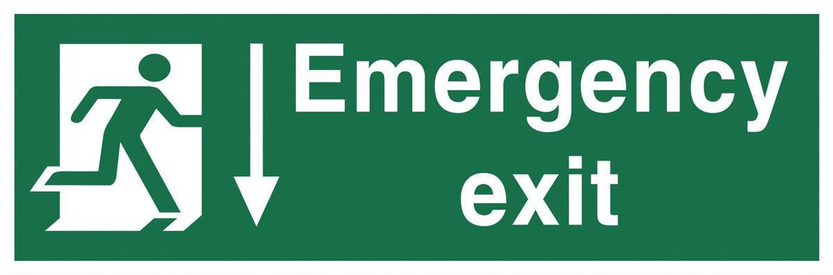 Stewart Superior Fire Exit Sign Emergency Exit 600x200mm Self-adhesive Vinyl Ref SPO54SAV