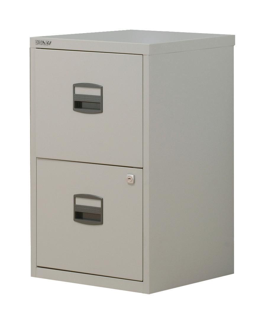 Trexus by Bisley SoHo Filing Cabinet Steel Lockable 2-Drawer A4 W413xD400xH672mm Grey