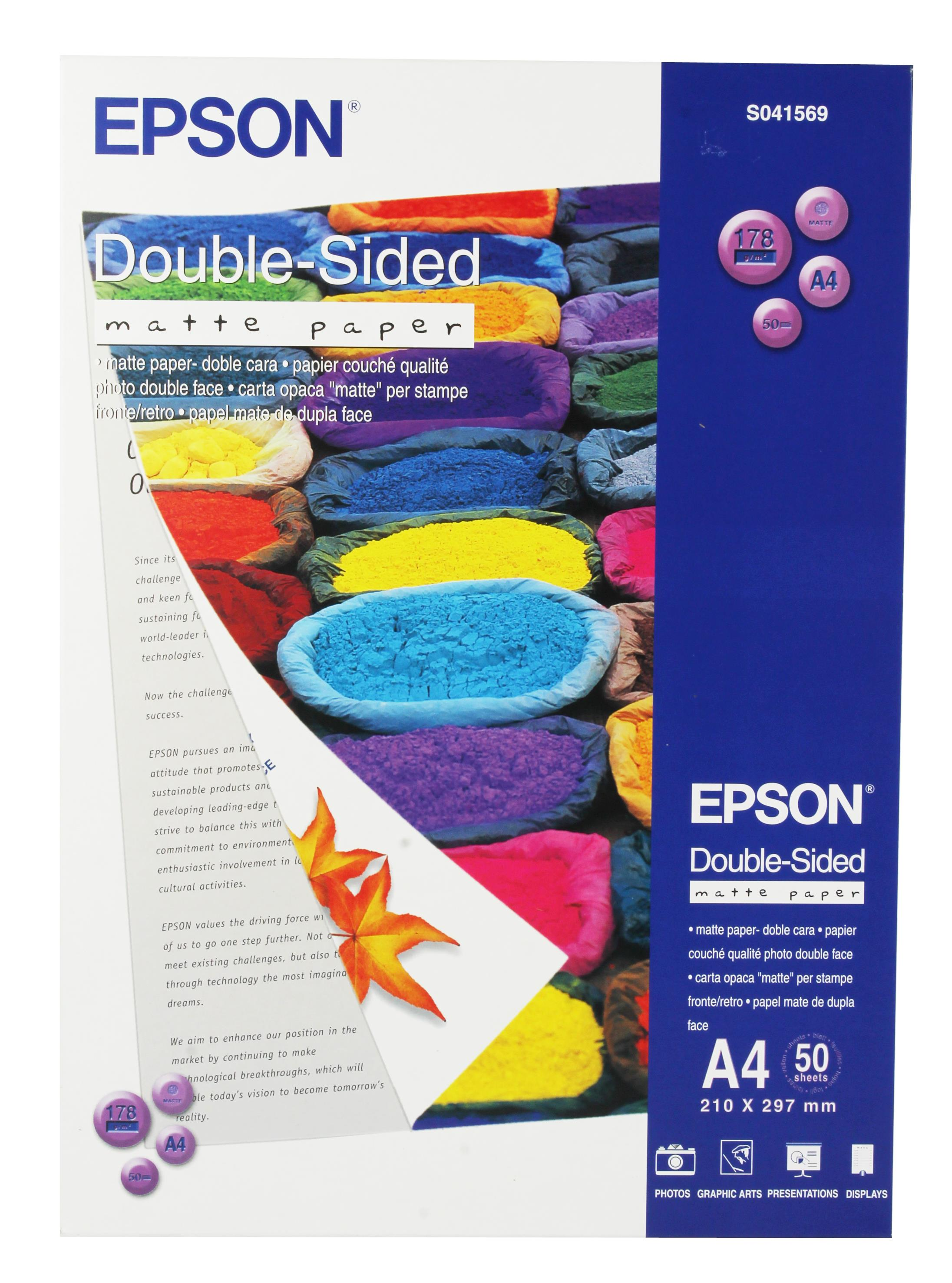 Epson Matte Paper Heavyweight 178gsm Double-sided A4 Ref S041569 [50 Sheets]